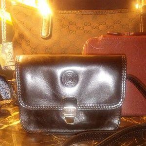 GIUDI black leather mini cross body bag